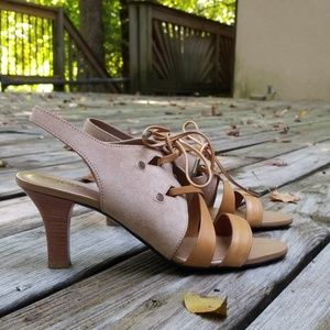 Tod's Tan Suede/Leather Slingback Heels Size 9